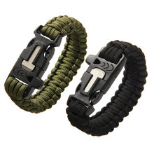 Outdoor Camping Men Bracelet Rescue Paracord Parachute Cord Wristbands Emergency Rope Flint Scraper Whistle Buckle Survival Kits(China (Mainland))