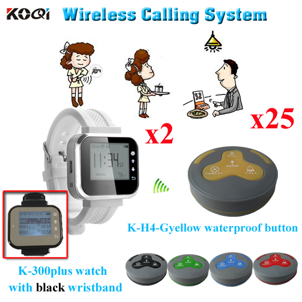 Wireless Watch Pager System 433.92mhz Catering Set 2pcs Table Buzzer Call Button K-H4 With 25pcs Alphanumeric Pager K-300plus(China (Mainland))