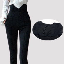 Hot sale 2016 Spring Summer Elastic fabric Women Pants Capris Black handsome Long super High waist Trousers tight, Women clothes(China (Mainland))