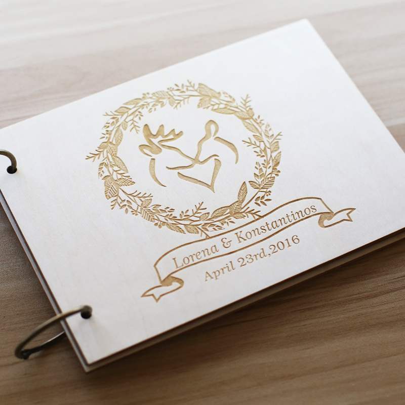Personalised Wedding Gift Book : Book With deers Personalized GuestBook Alternative design wedding gift ...