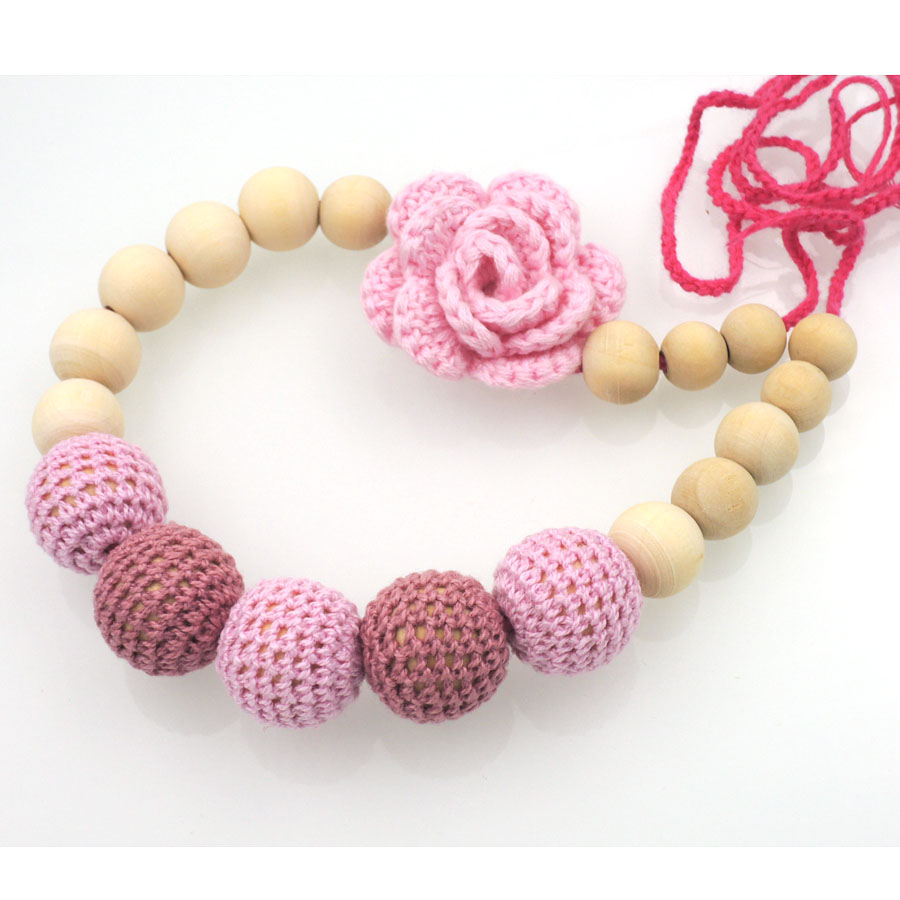2016 New coming Pink crochet flower teething Nursing necklace, Babywearing , Baby teether toy NW1987