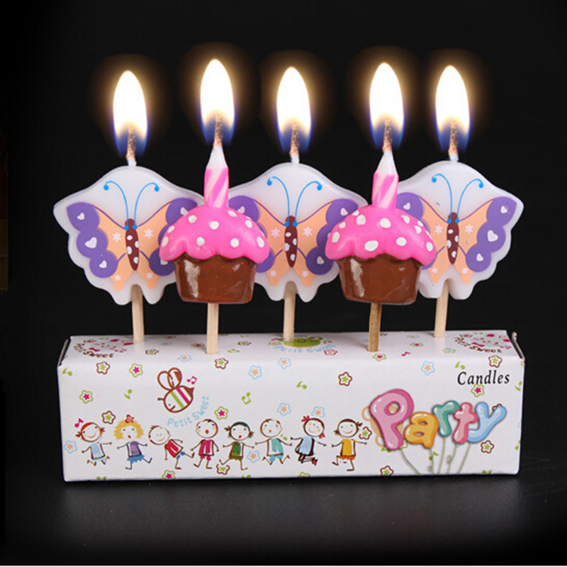 5 Pieces New Creative Butterfly And Ice Cream Birthday Candles For Cake Decoration Home Decor