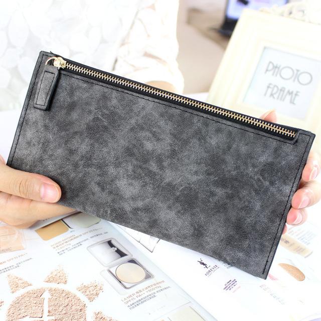 2016 новый нубук искусственная кожа известный дизайн сплошной цвет женщины бумажник ...