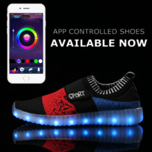 App Control Yeezy LED Shoes Kid Luminous Light Up Tenis Led Nmd Neon Sneaker Flat Colorful LLeisure Casual Unisex Hot Fashion(China (Mainland))
