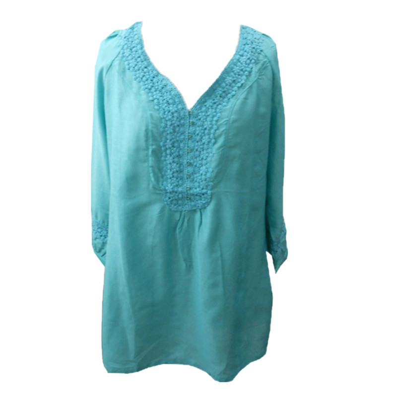 Plus Size 2016 Woven embroidered Blouse Blue Green White Shirt Silk Cotton Blusas Feminino Ladies Blouses Women Tops BL002(China (Mainland))