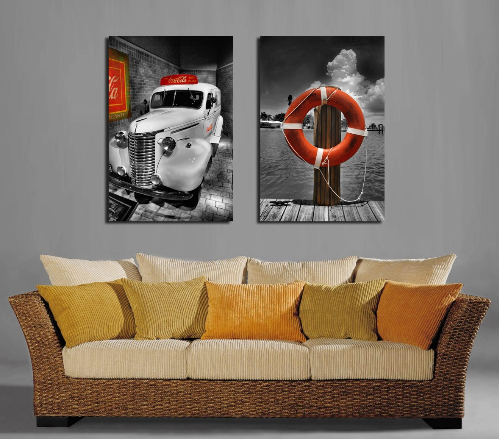 Buy Painting Calligraphy 2 Panels Modern Wall Painting Black White Car Picture