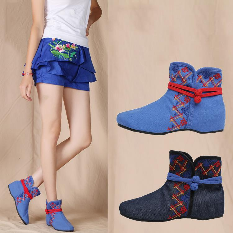 Embroidery fall and winter and old Beijing cloth spring increased within a short wedges women's boots shoes(China (Mainland))