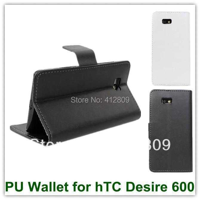 100PCS EMS/DHL Free Hot PU Wallet Credit Card Holder Smart Cover Case for hTC Desire 600 606W Dual Sim with Mulit Stand(China (Mainland))