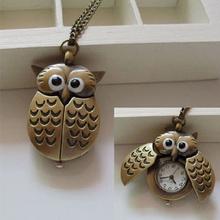 Fashion Retro Unisex Vintage Bronze Slide Smart Owl Pendant Antique Necklace Pocket Watch Gift High Quality