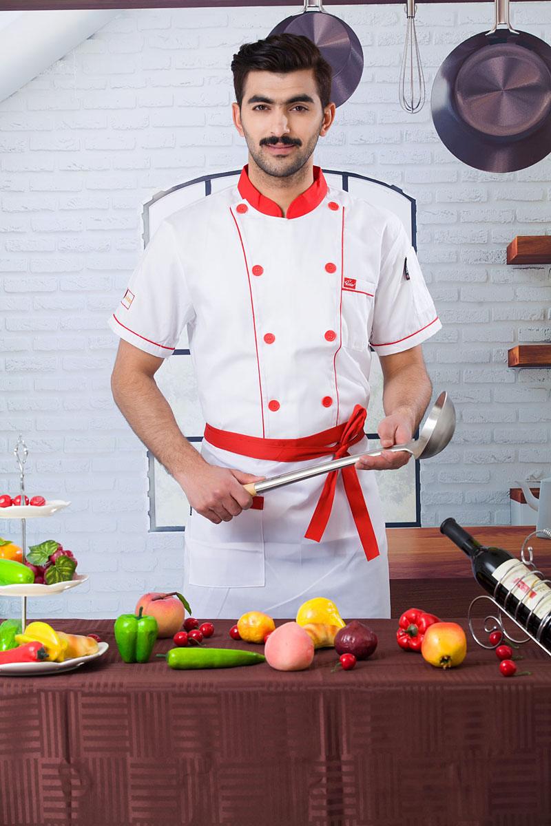 2016 chef jacket red collar chef short sleeve shirts chef uniform(China (Mainland))