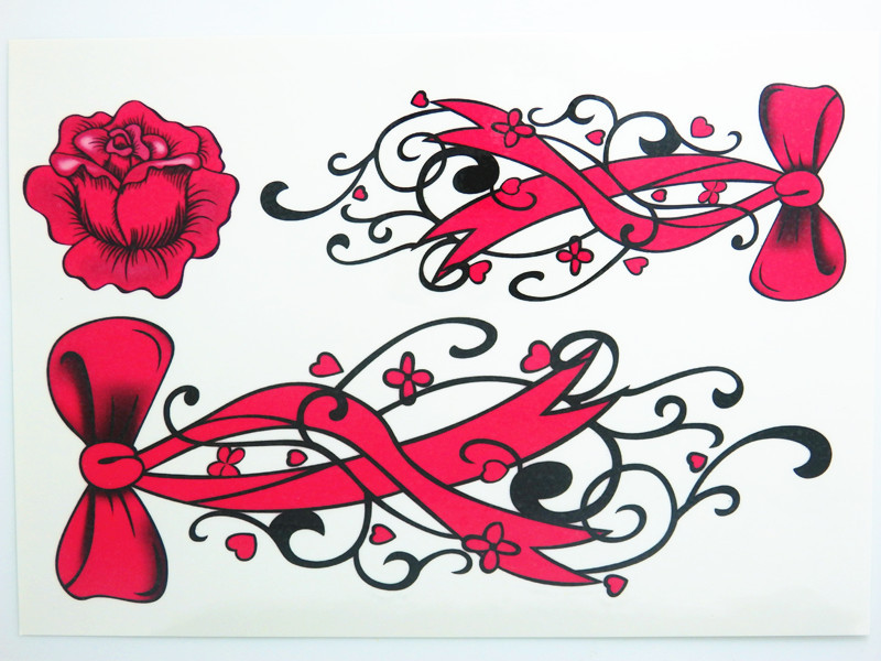 Waterproof Temporary Tattoo Stickers Cute Sexy Rose Red Bows Flowers Design Body Art Sex Products Make Up Styling Tools(China (Mainland))