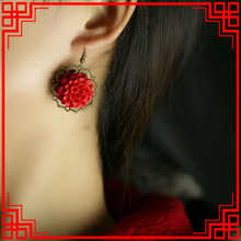 Ethnic jewelry handmade carved lacquerware dangle earrings ,New Original National red vintage earrings,(China (Mainland))