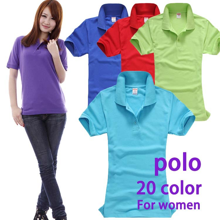 Short Sleeve polo shirt for women 20 color 100% cotton size S - XL - image & custom logo printing embroidered(China (Mainland))