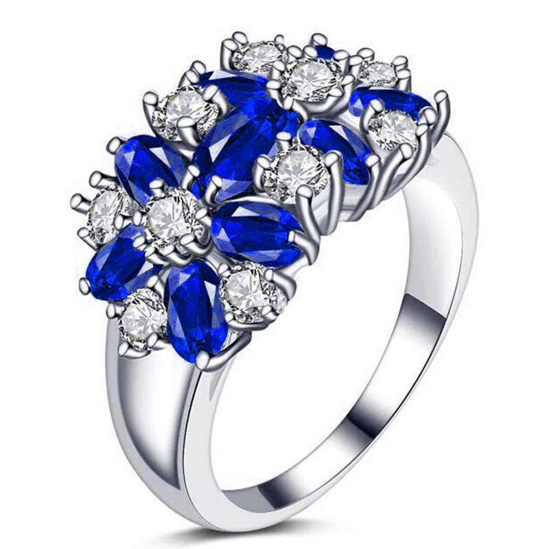 YaYI Fashion Women's Jewelry Ring CZ Diamond Sapphire White Platinum Plated Engagement Rings wedding Rings Party Rings gift(China (Mainland))