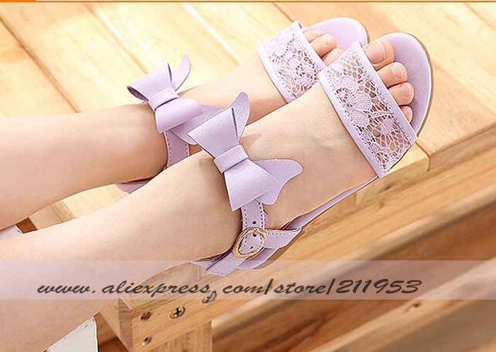 2015 High Quality 1 Pairs Kids PU Bowtie Sandals Summer  Lace Shoes for Kids Sandals Flower Girls Shoes Purple Pink  AL15050103<br><br>Aliexpress