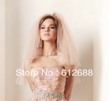 Bridal Wedding Veil One Layer Pink Tulle With Knot Lovely Bridal Veil Wedding Accessoris(China (Mainland))
