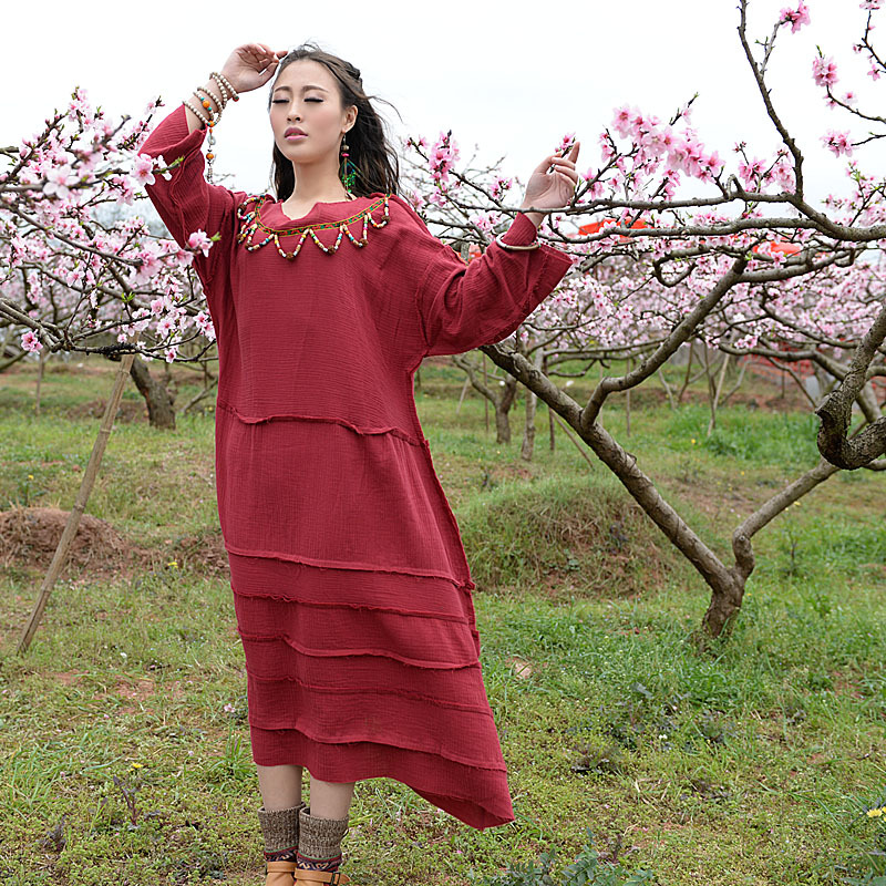 BOHOCHIC Original Design Vintage National Womens Knit Cotton Dress Spliced Irregular Art Clothing Summer Style AG0018 Boho ChicÎäåæäà è àêñåññóàðû<br><br>