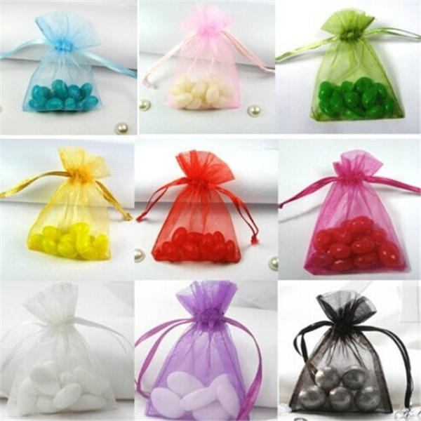 100 Pcs 9*12cm 10 Colors Pouches For Jewelry Organza Yarn Ribbon Bags Jewelry Packaging &Display(China (Mainland))