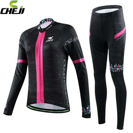 High QUALITY Cheji WOMEN Long Sleeve cycling Jersey  Bicycle Bike cycling clothing pants with 3D pad Breathable Free Shipping