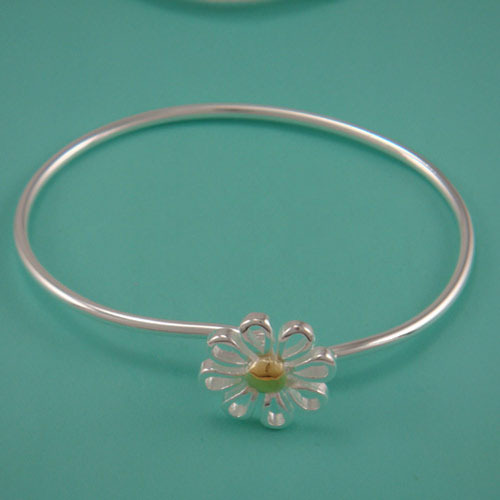 Free shipping dichroic daisy bracelet female models 925 fine silver jewelry Hot Korean fashion minimalist atmosphere20957(China (Mainland))