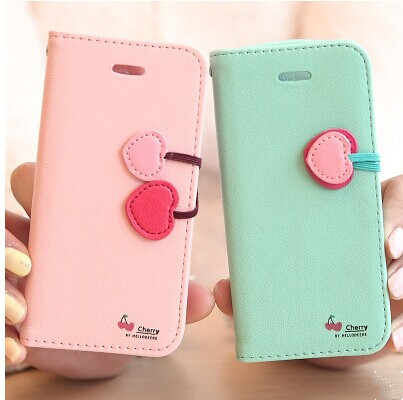 4S 5S 5C Lovely Cute Luxury Cherry Series Cover Leather Flip Case For iPhone 4 4S 5 5S 5C Wallet Stand Pouch Phone Capa Strap(China (Mainland))