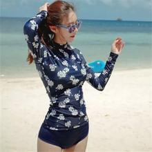 FREE shipping long sleeve Surfing wear Elegant flower print with zipper high collar blue girls Bikini women Swimsuit Swimwear