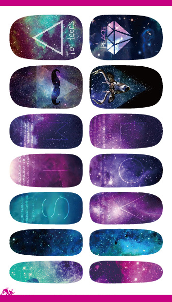 Cartoon Mystery Galaxies Water Transfer Nail Art Sticker Decals Minx Love Miss Design Nail Decoration Foil Decals K5653(China (Mainland))