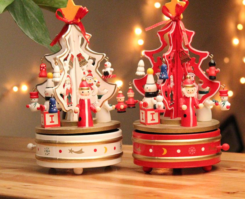 Music Box Christmas Ornaments Ornaments Wooden Music Box