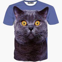 Animals fashion women t-shirt 3d print big yellow eyes cat short sleeve summer t shirt slim tops tees(China (Mainland))