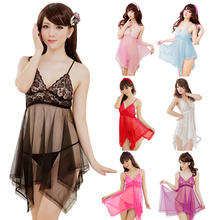 6 Colors New Arrival Women's Sexy Babydolls Chemises Lace Bra Nightgown Sleepwear Nightie Lace Chemise Slip Dress QQ0003