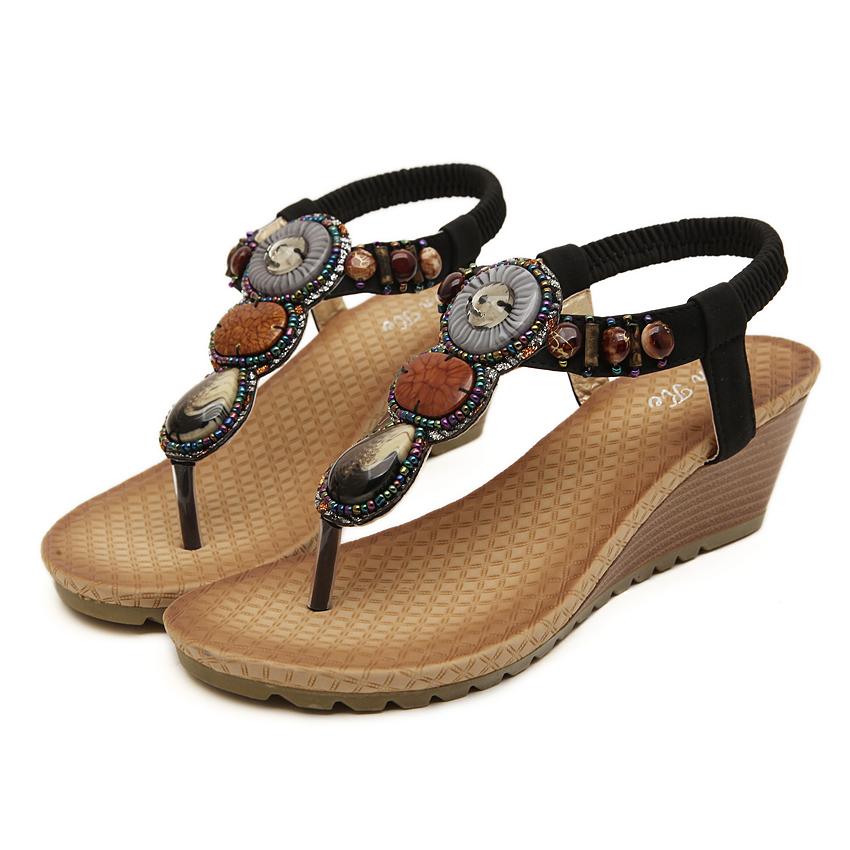 New fashion bohemia wedge women sandals summer vintage ...
