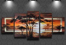 Buy framed Free hand-painted modern abstract big tree sunset landscape oil painting large canvas wall art home decoration for $62.99 in AliExpress store