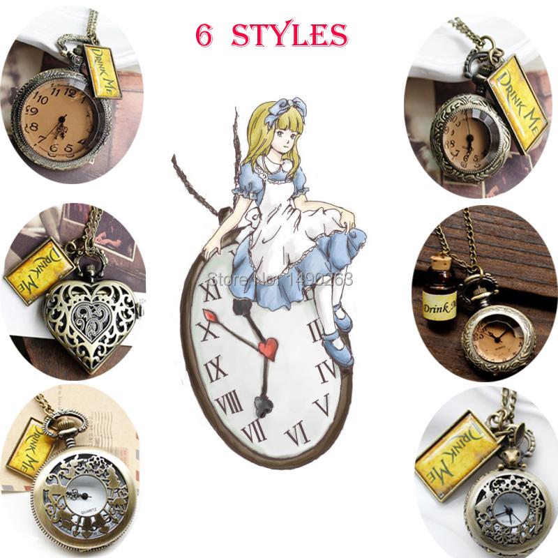 6styles Drink Me Alice In Wonderland Long Necklace Wishing Bottle Pocket Figure Watch CL Vintage Women Dress 6pcs/lot(China (Mainland))