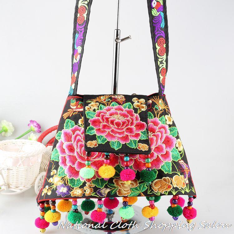Original new national embroidered handbag Ethnic Women Embroidery Messenger Shoulder bag Pompon women tassel Travel bags