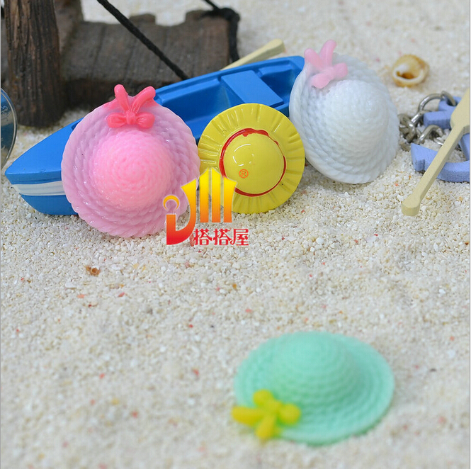 wholesale New Mini Flat back resin Sun hat /<20.50.100>pcs 3d micro landscape decoration Beach style(China (Mainland))
