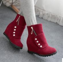 Mujeres de nueva moda primavera otoño corto matorrales 5 cm tacones ocultos botas de nieve punta redonda zapatos de gran tamaño, más 40-43(China (Mainland))
