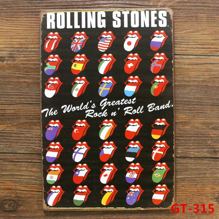 ROLLING STONES Vintage Metal Posters Retro Mural Painting Souvenir Store Home Wall Plaque Bar Decor 20*30CM GT-315(China (Mainland))