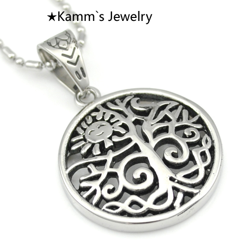 Tree of life Silver 316 Stainless Steel Mens Pendant necklace ammonite halloween charms frozen jewellery agate slice Punk KP1065(China (Mainland))