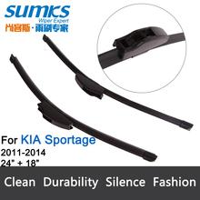 "Wiper blades for KIA Sportage (2011 -2014),24""+18""  rubber windscreen Car accessories, 2 pcs HY-002(China (Mainland))"