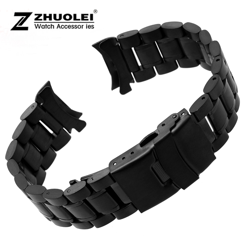 Mens Stainless Steel Black Metal Bracelet Watch Band Strap 18mm 20mm 22mm 24mm <br><br>Aliexpress