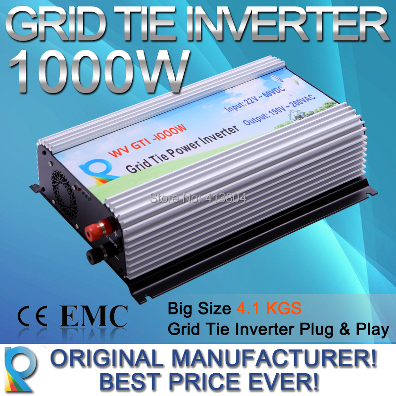 Reliable Offer LCD Display 1000W wide voltage DC22V~60V, AC 90V-140V / 180V~260V,DC To AC Grid Tie Inverter(China (Mainland))