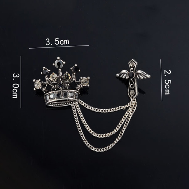 Hot Selling Men's Business Brooches Crystal Crown Lapel Pin Crosses Brooch Pin Male Collar Lapel Pin Wedding Breastpin(China (Mainland))