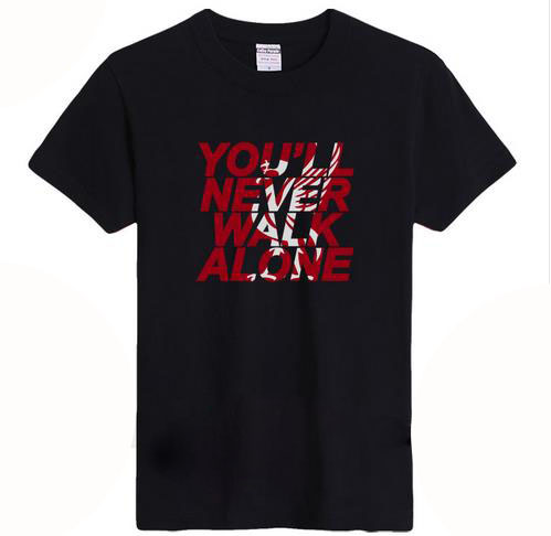 2016 fashion leisure T-shirt  Liverpool T-shirt Liverpool Never walk alone O-Neck  T-shirt In  summer Pure cotton Round collarОдежда и ак�е��уары<br><br><br>Aliexpress