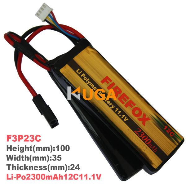 HK register 100% Orginal FireFox 11.1V Li Polymer battery 2300mAh 12C Li Po AEG Airsoft Battery F3P23C(China (Mainland))