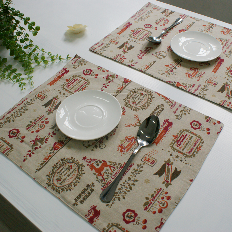 Christmas Placemat Dining Table Mat Kitchen Placemats For Table Decoration Accessories Linen Material Print Cup Mat Red(China (Mainland))