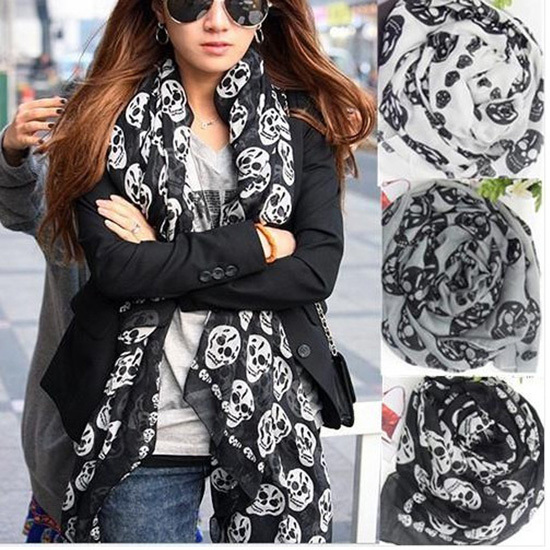 Fashion Girls Women's Cool Big Skull Head Skeleton Scarf Neck Wrap Shawl Stole Warm Winter(China (Mainland))