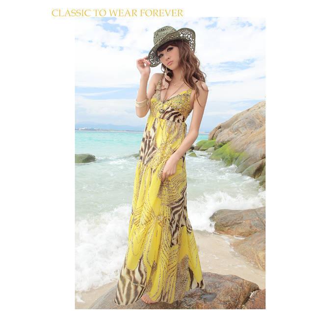 New European Style Women Summer Leopard Beach Bohemian Straps Chiffon Holiday Dress Free Shipping LJ6385