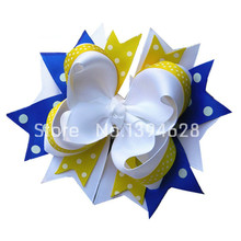 Free Shipping $1.5/1PC 5.5″ Blue,White,Yellow Boutique Hair Bow Girls Baby Toddler Hair Accessories  Stacked Hair Bows