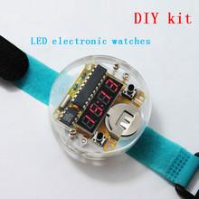 Hot 4 Bits Digital Tube DIY kit LED Digital Watch Electronic Clock Kit Microcontroller MCU diy watch Free Shipping Drop Shipping(China (Mainland))