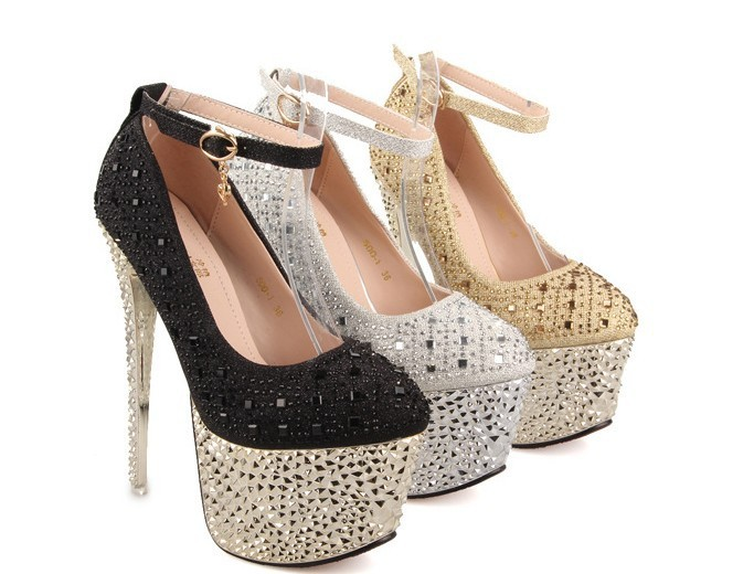 Big yards for women's shoes in Europe and America it is waterproof high heels as 16 cm diamond high heel free shipping(China (Mainland))